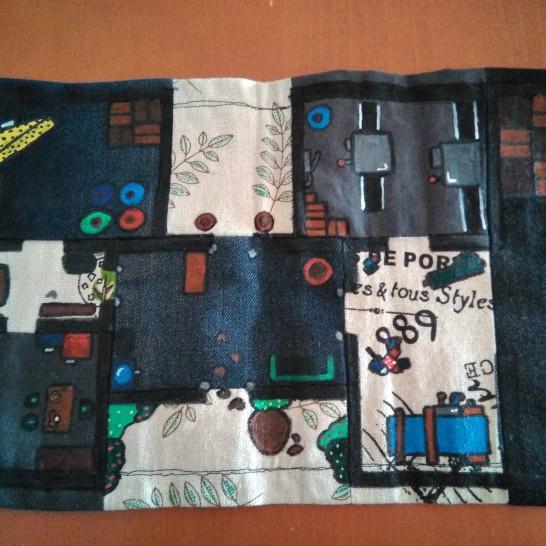 Un mapa de retales textiles, para el Caso de los parches, los retales y otros pedacitos de tela.