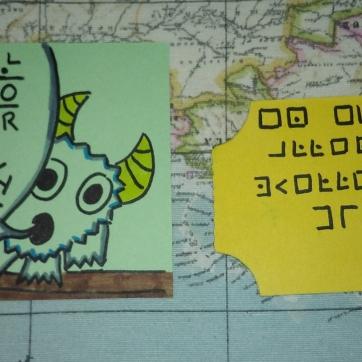 Al atrapar el monstruo, le caerá esta entrada que guarda un mensaje secreto...